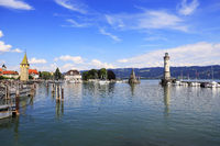 The picturesque harbour of the town Lindau at the Lake Constance, Bodensee, Bavaria in Germany, Europe