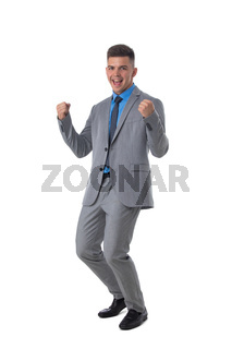 Business man holding fists