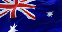 Detail of the national flag of Australia flying in the wind.