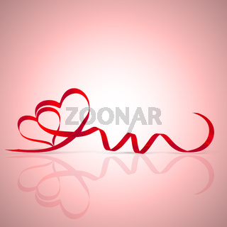 Happy valentine. Heart shaped elegant ribbon. Symbol of love.