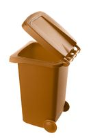 Plastic brown trash can isolated on white background