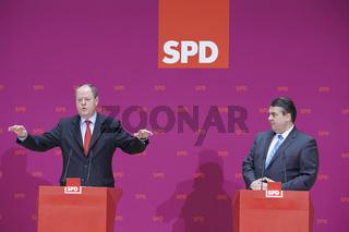 Peer Steinbrück (SPD), SPD chancellor candidate, and SPD Chairman, Sigmar Gabriel (SPD), give press conference