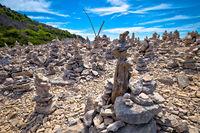 Telascica bay on Dugi Otok island stone desert statues view
