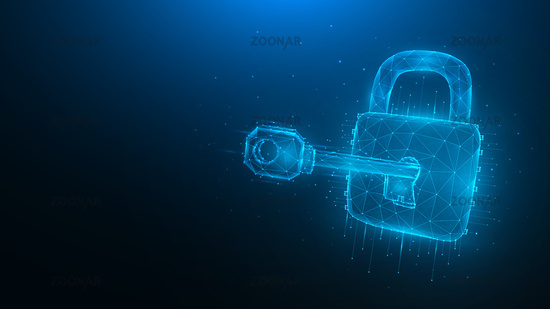 Cyber security low poly art. Polygonal vector illustration of a key and lock on a blue background. Cyber attack or data hacking concept.