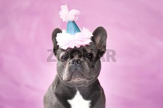 Französische Bulldogge Hund mit geburtstags Partyhut