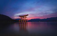 The floating Torii Gate of Itsukushima Shrine after sunset in colorful twilight in Miyajima, Hiroshima, Japan
