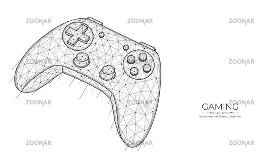 Gaming concept. Joystick for video games low poly design. Polygonal vector illustration of a game controller on a white background.