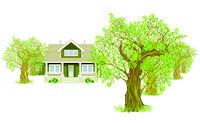 Landschaft mit Haus Baum.eps