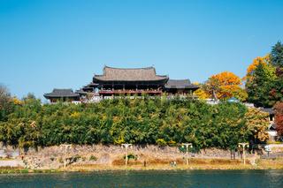 Yeongnamnu Korean traditional pavilion and Miryang river at autumn in Miryang, Korea