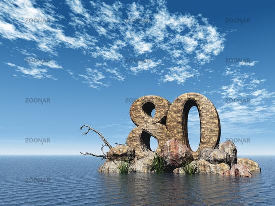 Foto Die Zahl Achtzig 80 Auf Dem Meer 3d Illustration Bild