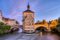 Das Fachwerk des Alten Rathauses von Bamberg