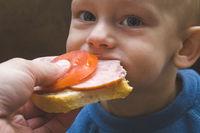 Little baby eat sandwich