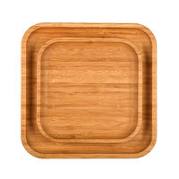 Brown wooden tray plates isolated on white