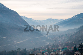 Valley of river Beas and town Kullu in foothiдды ща Himalayas- foggy  !