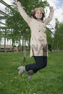 Woman is high jumping
