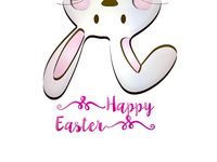 Happy easter on white background - 3d rendering