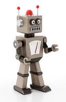 Vintage generic robot isolated on white background. 3D illustration