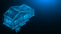 House for sale. Real estate concept. Polygonal illustration of a house with a garage on a dark blue background.