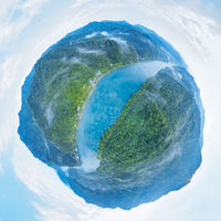 spherical panorama of beautiful the Dongjiang Lake landscape