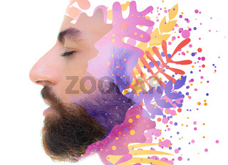A portrait of a man with closed eyes with cold colors