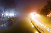 Misty morning in Toulouse, Canal du Midi, France