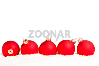 Christmas decoration with snow isolated on white background