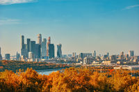 Moscow Russia, city skyline of Moscow business center view from Sparrow Hill with autumn foliage season