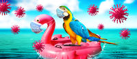 Inflatable swan with corona virus mask and parrot on vacation