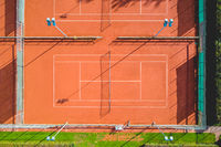Aerial view of red clay tennis court