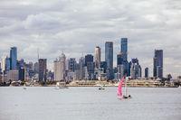 Melbourne Skyline from Williamstown in Australia
