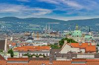 Vienna Austria, city skyline at Vienna city center