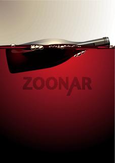 Wine bottle floating on red wine