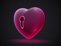 3D red heart with keyhole on gray background.