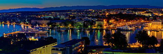 Zadar harbor bay night panorama