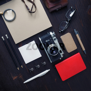 Vintage stationery and camera