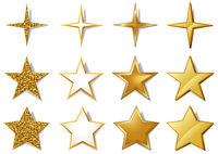 Vektorsatz der metallischen goldenen Sterne