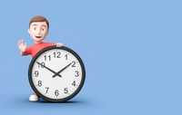 Young 3D Cartoon Character with Clock on Blue Background with Copy Space