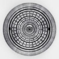 Manhole cover isolated on white background. 3D illustration