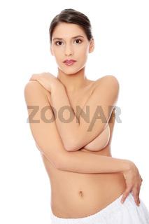 Beautiful fit topless woman