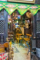 Interior of El Fishawi old cafe, at Mamluk Khan al-Khalili bazaar, Cairo, Egypt