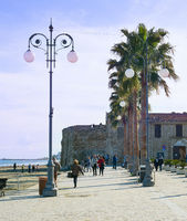 People Larnaca Castle fort Cyprus