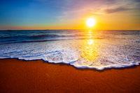 Beautiful sunset sea and tropical beach