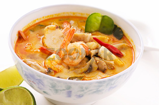 Tom yum thale soup in a bowl