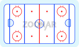 stylized ice hockey ground with all lines on white background