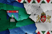 flags of District XII. (Hegyvidek) and Budapest painted on cracked wall