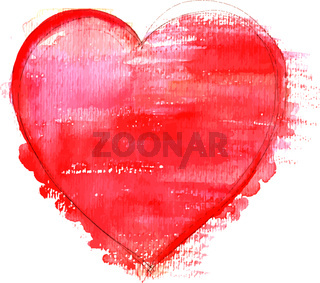 A vector watercolour drawing of a vibrant red heart on white