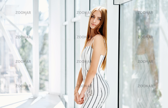 Portrait of pretty beauty trendy woman posing