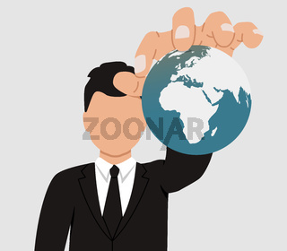 The concept of world domination. A businessman holds the planet Earth in his hands. The faceless man controls the population of the Earth.