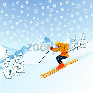 Skiläufer in den Bergen