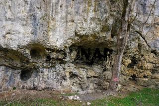 Kalkfelsen im Tal der Großen Lauter im Biosphärengebiet Schwäbische Alb, Deutschland